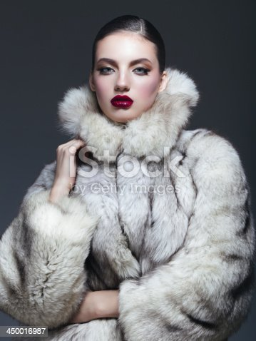 Beautiful woman wearing fur coat. Professional make-up and hairstyle. High-end retouch.