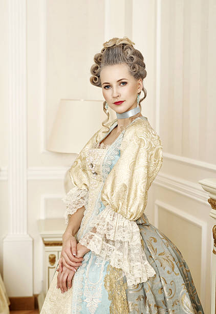 beautiful woman in historical dress in baroque style - baroque stock photos and pictures