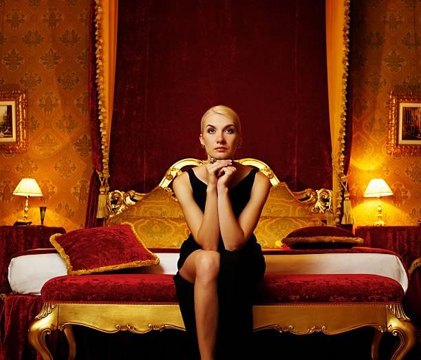 Beautiful woman in luxury interior. stock photo