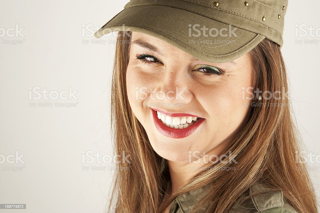 Beautiful woman in military clothes royalty-free stock photo