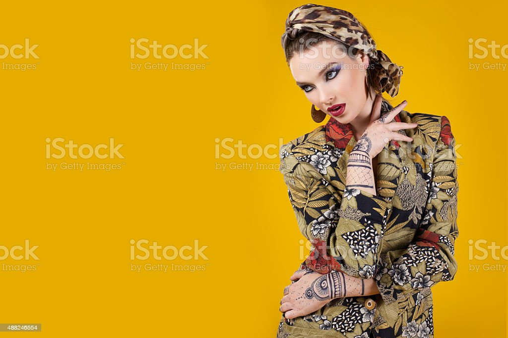 beautiful woman in oriental style with mehendy stock photo