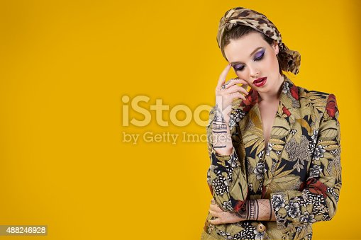 istock beautiful woman in oriental style with mehendy 488246928