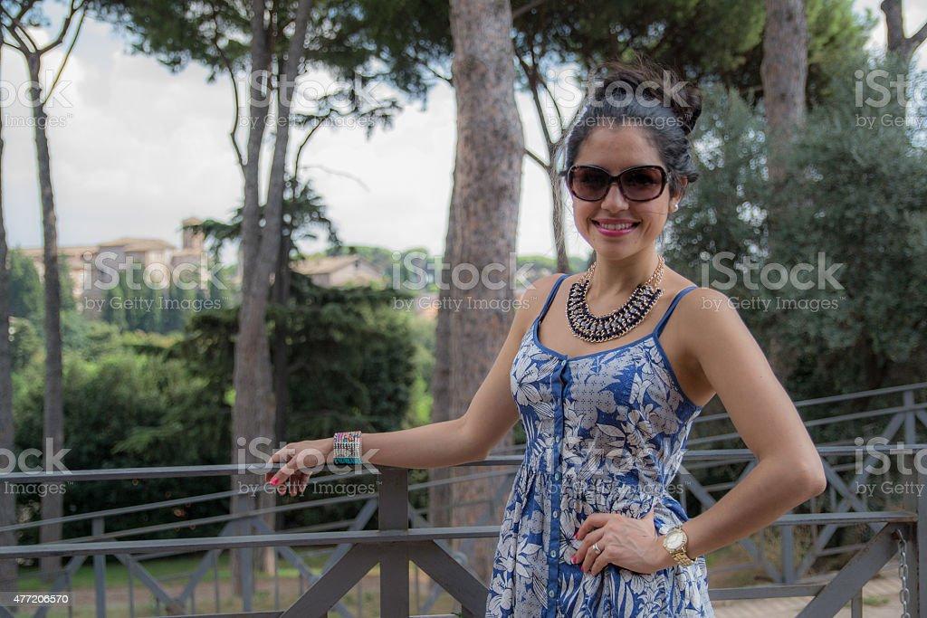 Beautiful woman in Palatine in Rome stock photo