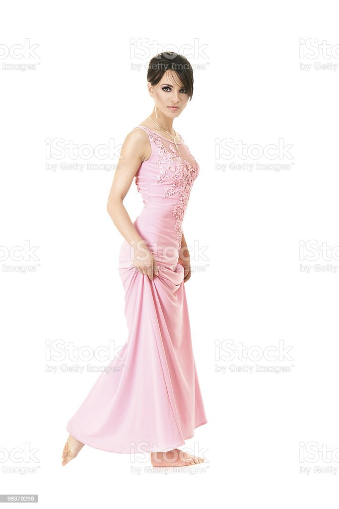 Beautiful woman in pink dress royalty-free stock photo