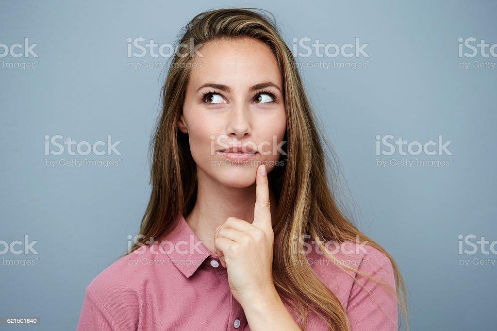 Beautiful woman in pink finding inspiration Lizenzfreies stock-foto