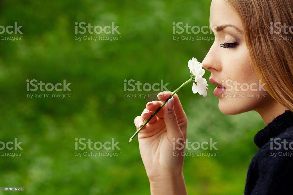 Beautiful woman in profile royalty-free stock photo