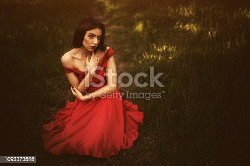 Young beautiful woman in long red dress sitting on the ground