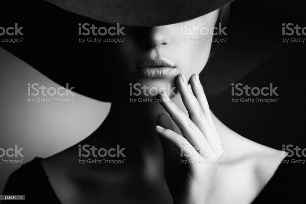 Beautiful woman in retro style stock photo black explosion isolated on white