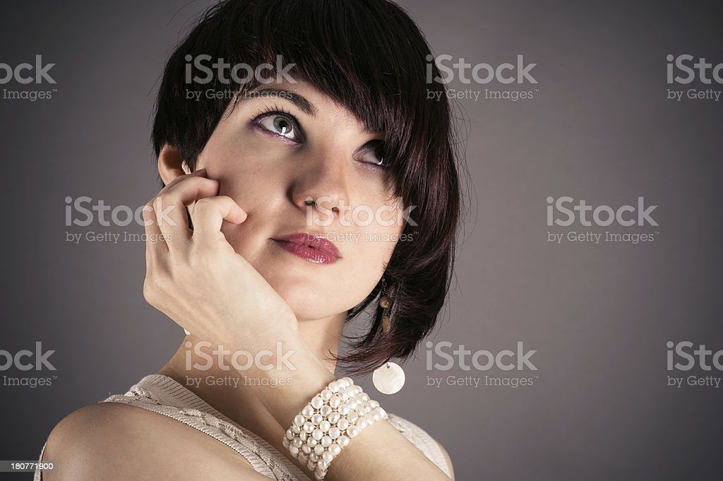 beautiful woman in retro style royalty-free stock photo