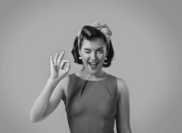 beautiful woman in retro style . - 1950s style stock photos and pictures
