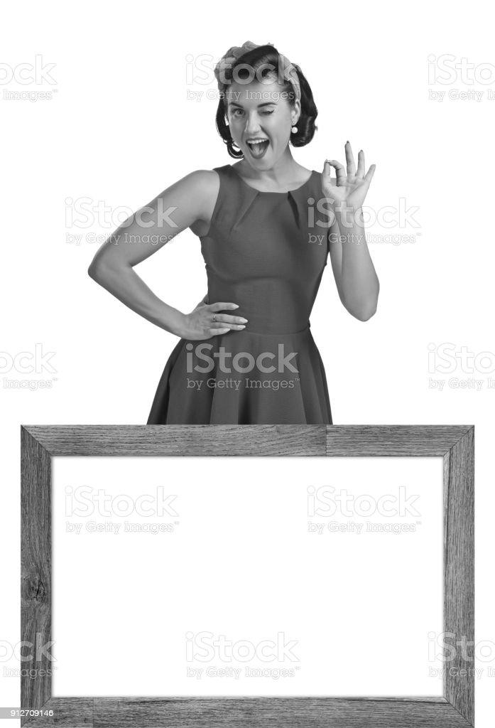 Beautiful woman in retro style stock photo