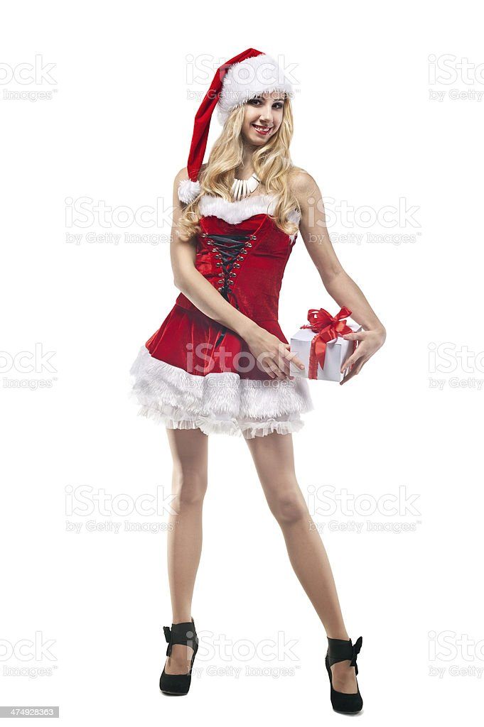 Beautiful woman in Santa Clause costume with  blonde hair royalty-free stock photo