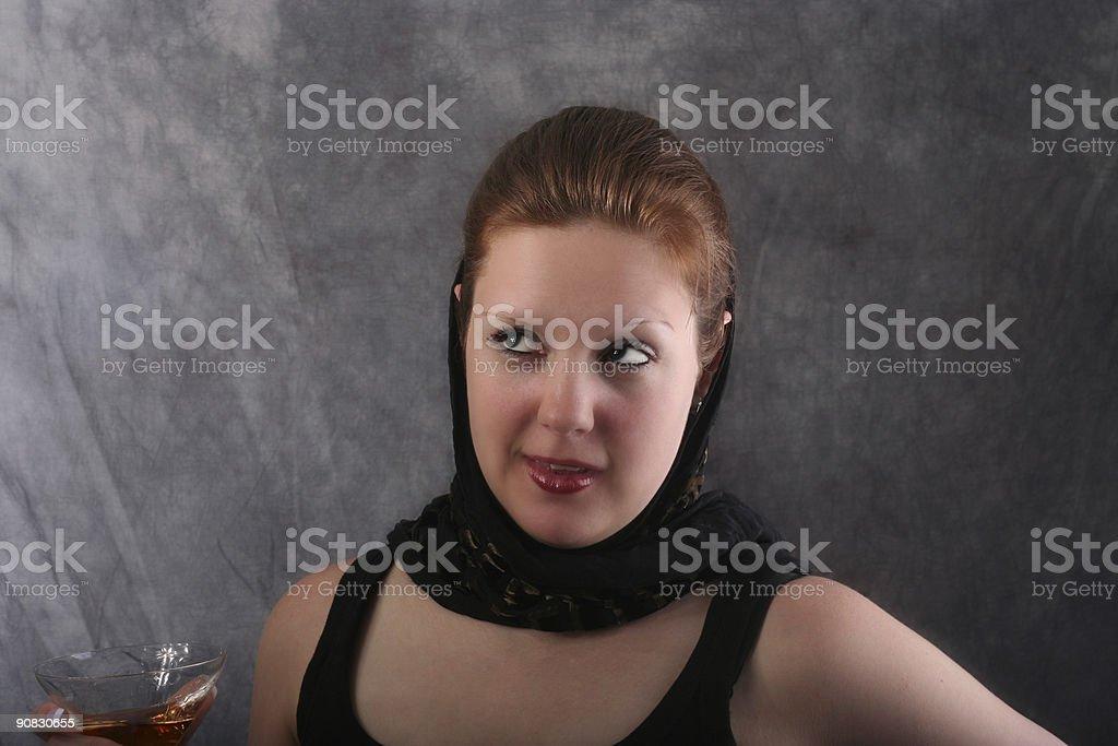 Beautiful woman in scarf stock photo