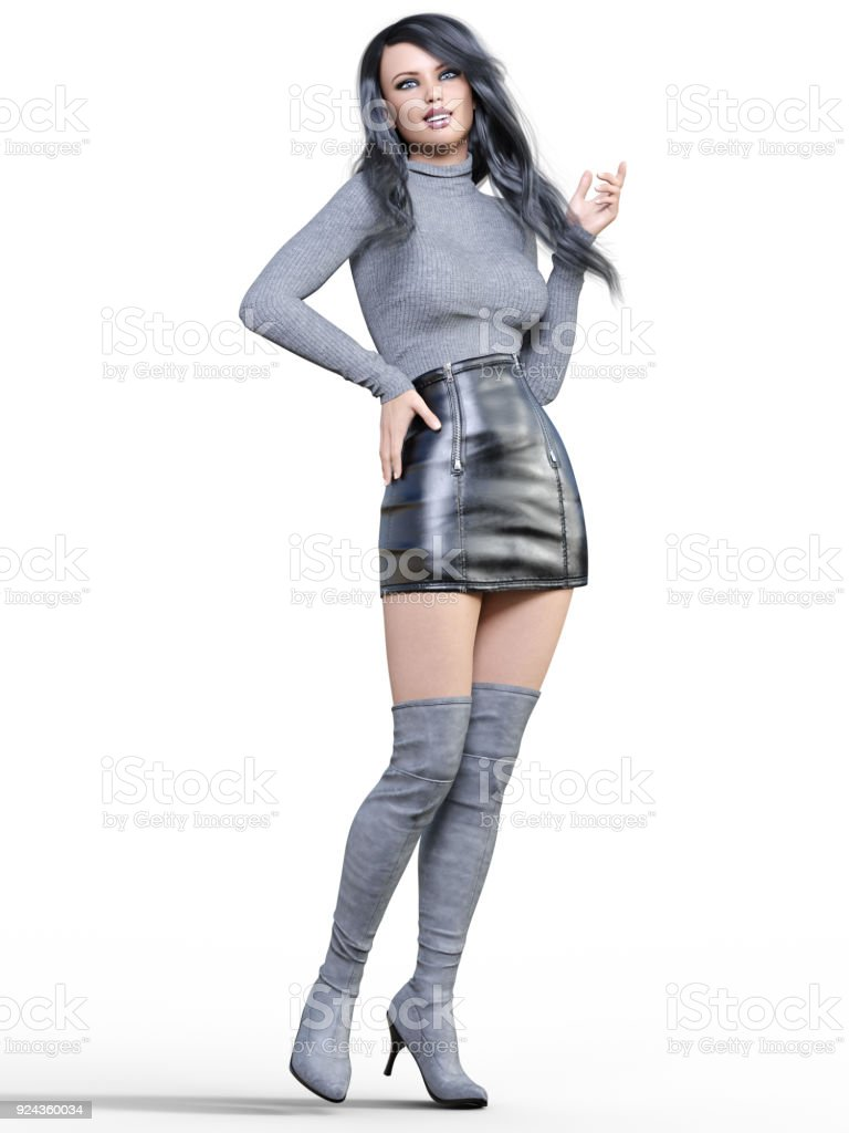 b13b4d5e472 Beautiful woman in short black leather skirt and long boots. - Stock image .