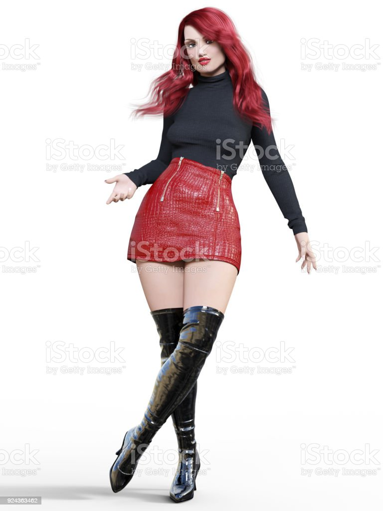 Photo Libre De Droit De Jupe En Cuir Rouge Bref Belle Femme Et Bottes Banque D Images Et Plus D Images Libres De Droit De Adulte Istock