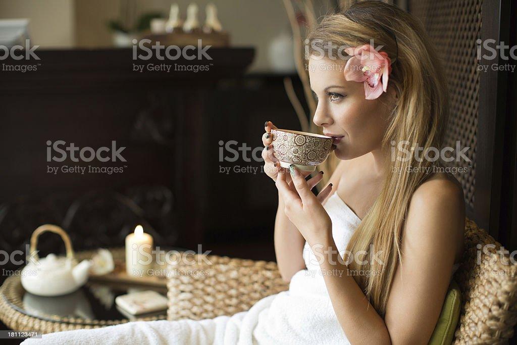 Beautiful woman in SPA. stock photo