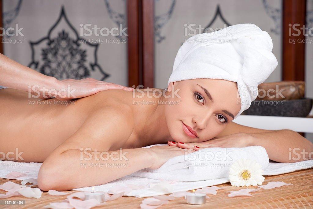 Beautiful woman in spa salon royalty-free stock photo