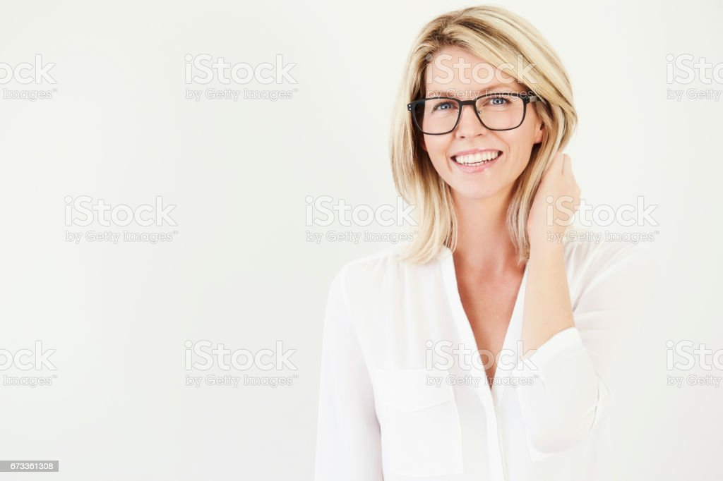 Beautiful woman in specs stock photo