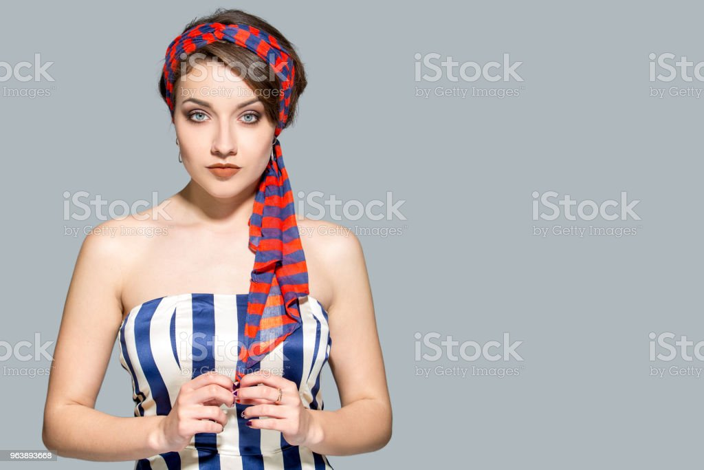 Beautiful woman in striped dress - Royalty-free Adult Stock Photo