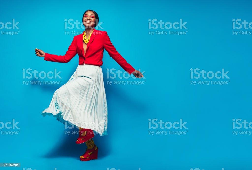 Beautiful woman in stylish clothing stock photo