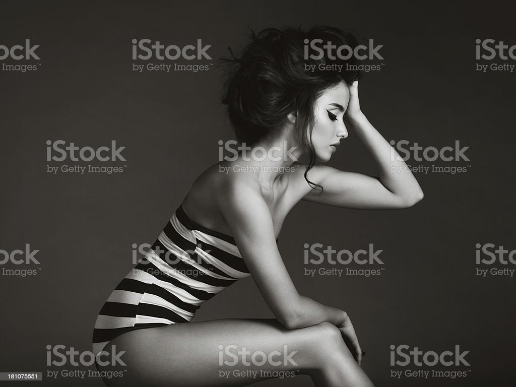 Beautiful woman in swimsuit stock photo