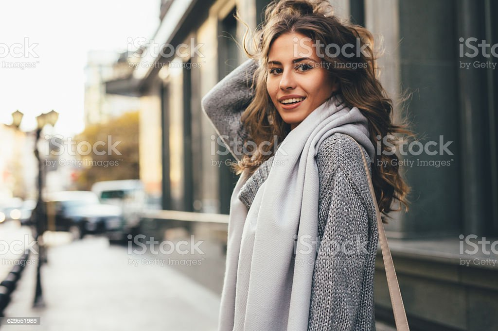 Beautiful woman in the city stock photo