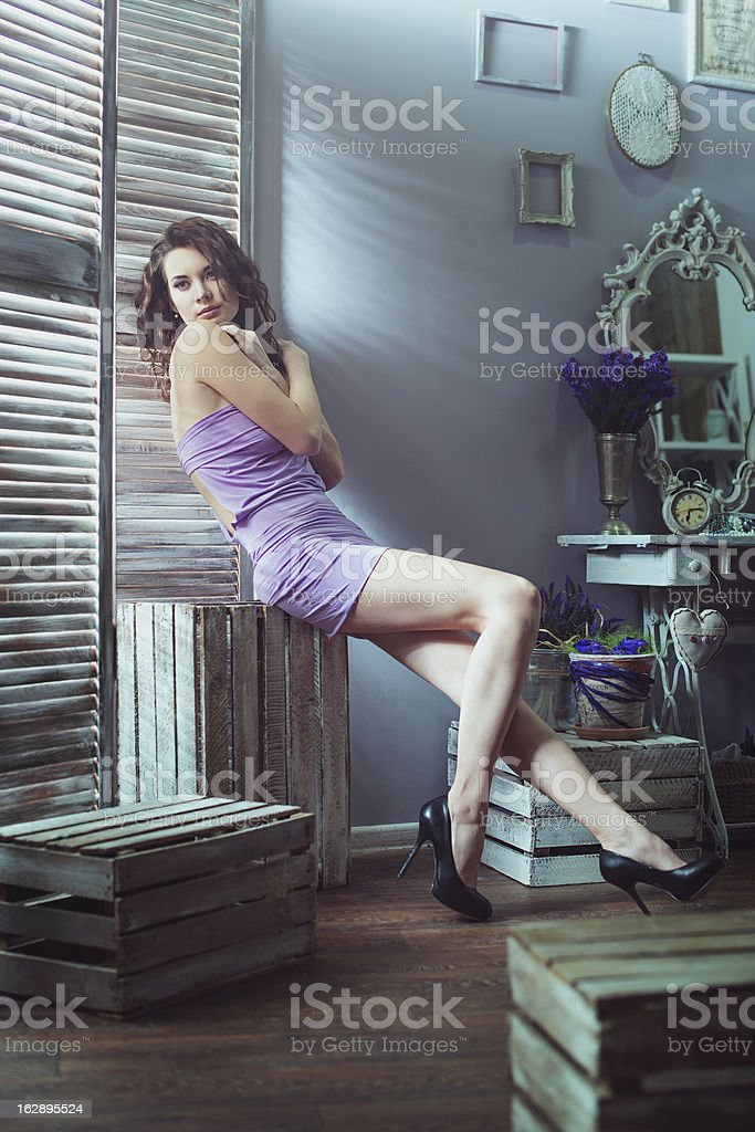 Beautiful woman in the interior royalty-free stock photo