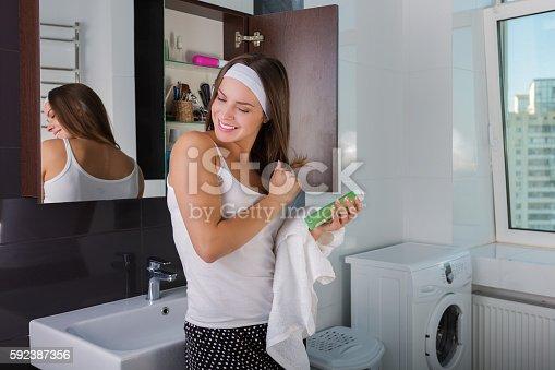 istock Beautiful woman in the morning 592387356