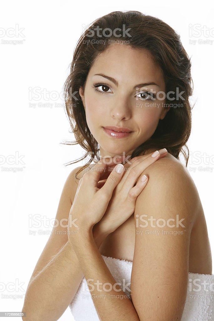 beautiful woman in towel royalty-free stock photo
