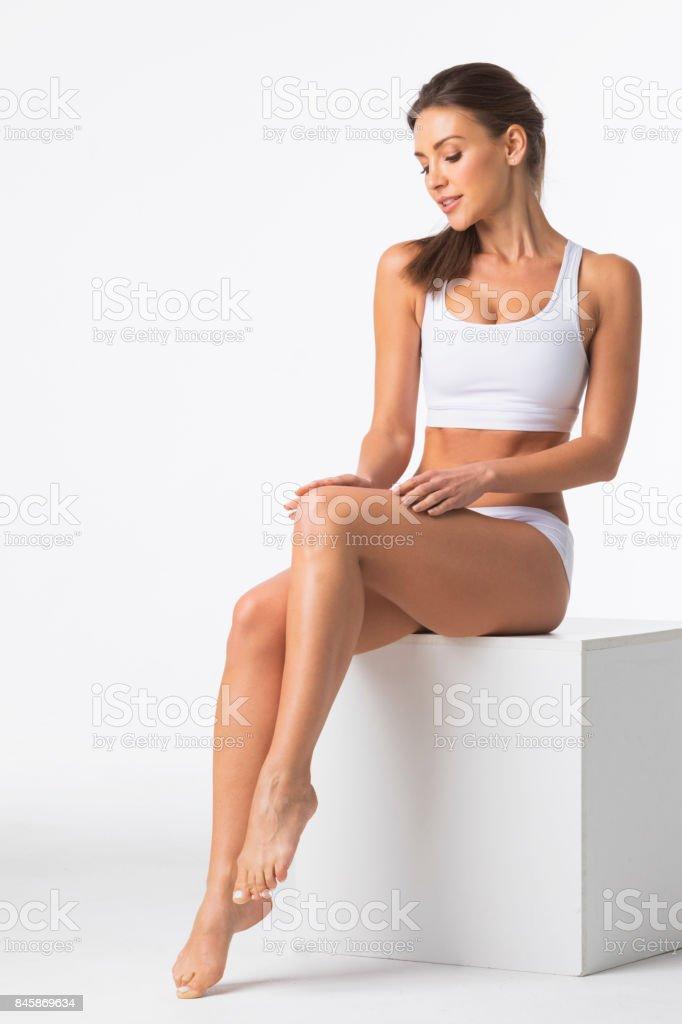 Beautiful woman in underwear royalty-free stock photo