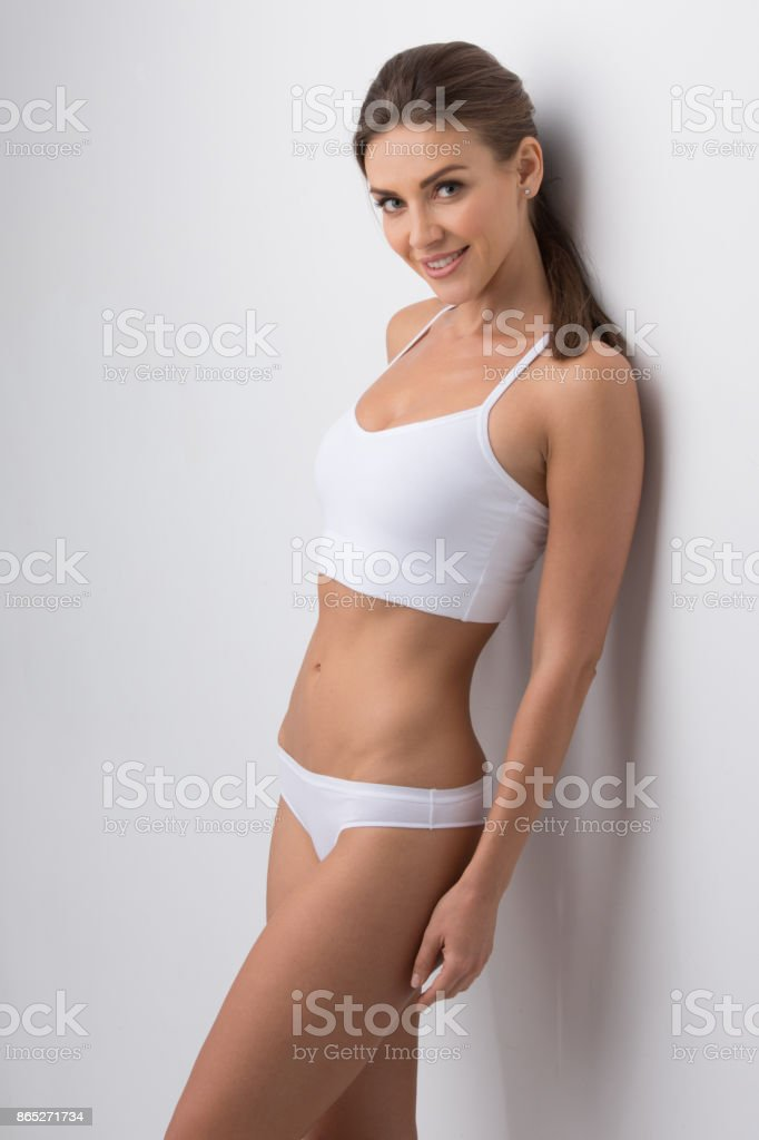 Beautiful woman in underwear stock photo