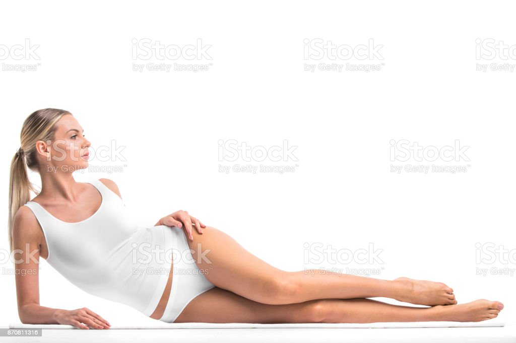 Beautiful woman in underwear stock photo