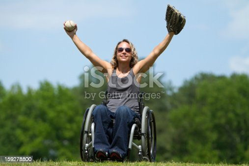Beautiful Woman In Wheelchair Playing Catch Stock Photo & More Pictures of Adult