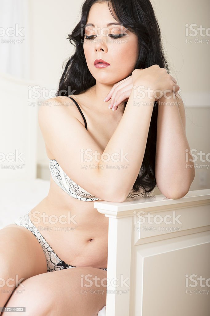 Beautiful woman in white lingerie royalty-free stock photo
