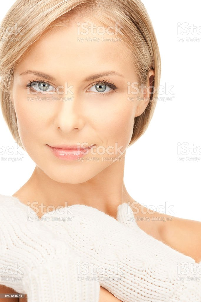 beautiful woman in white mittens royalty-free stock photo