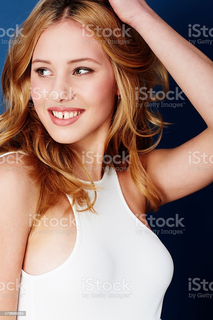 Beautiful woman in white top stock photo