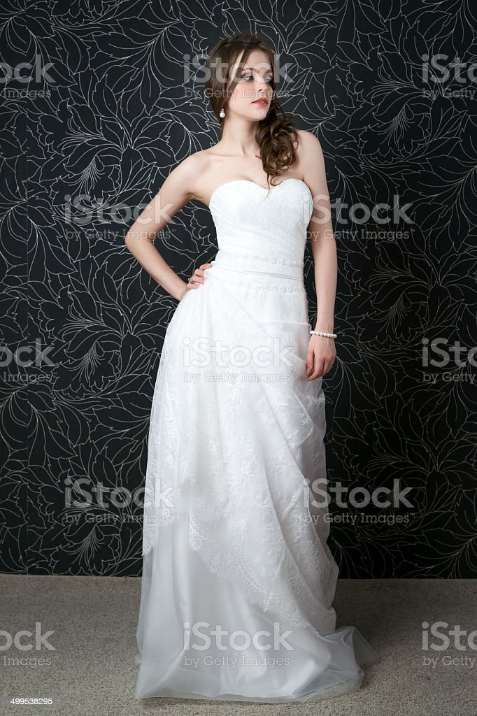 99629bb40 Beautiful Woman In White Wedding Dress Stock Photo & More Pictures ...
