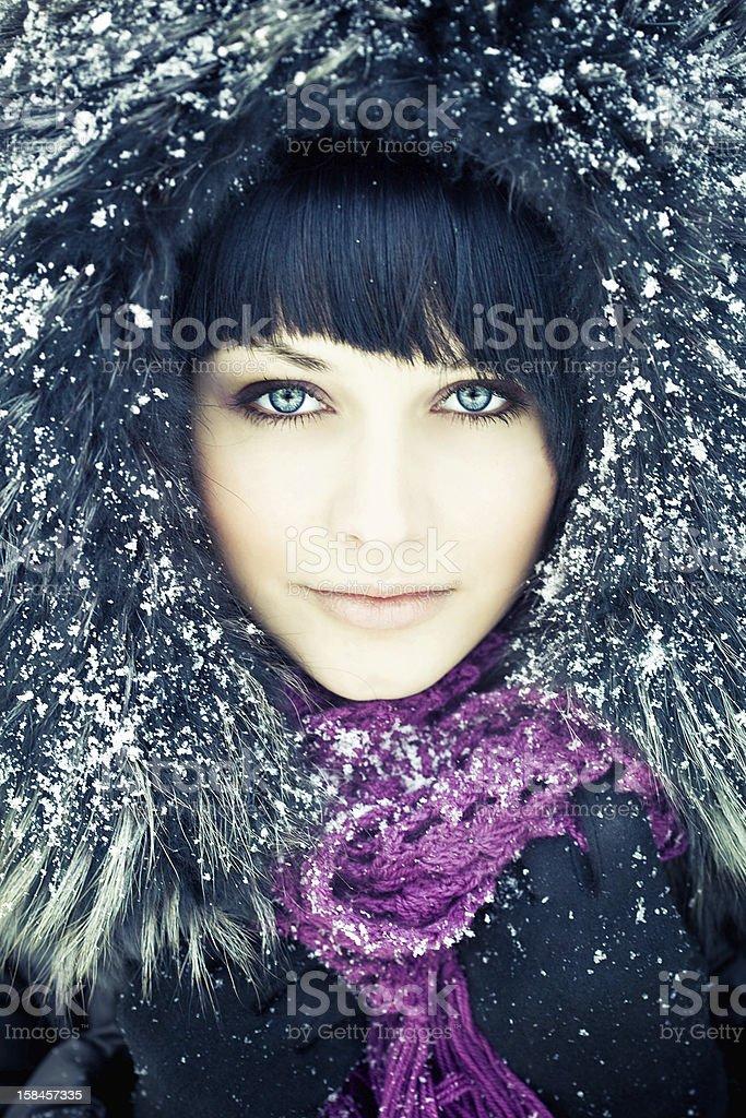 Beautiful woman in winter coat royalty-free stock photo