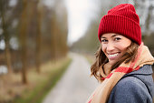 Beautiful woman in winter fashion, portrait