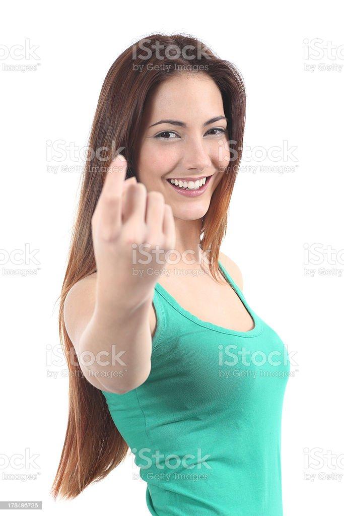 Beautiful woman inviting stock photo