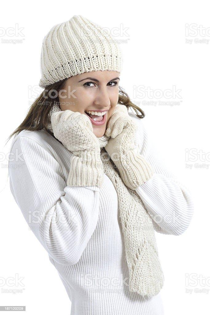 Beautiful woman keeping warm in winter stock photo