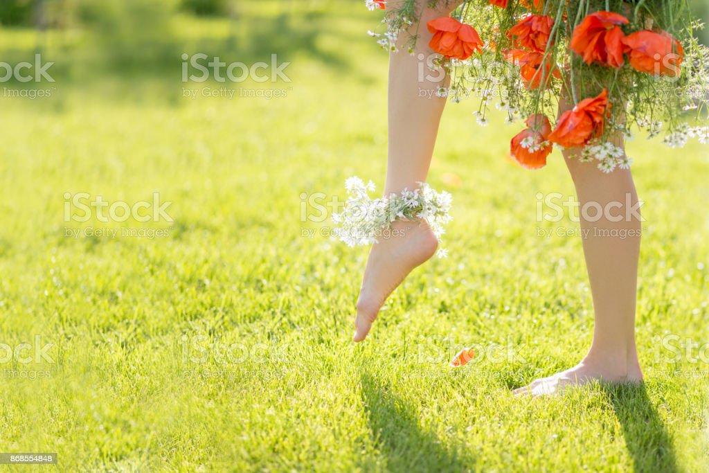 Beautiful woman legs barefoot stock photo