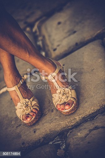 157582133 istock photo Beautiful Woman Legs with High Heels Sandals 505174854