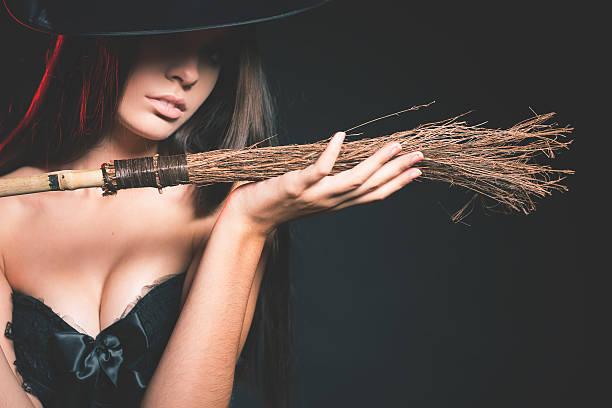 Beautiful woman like witch. Fashion. Halloween costumes - foto de stock