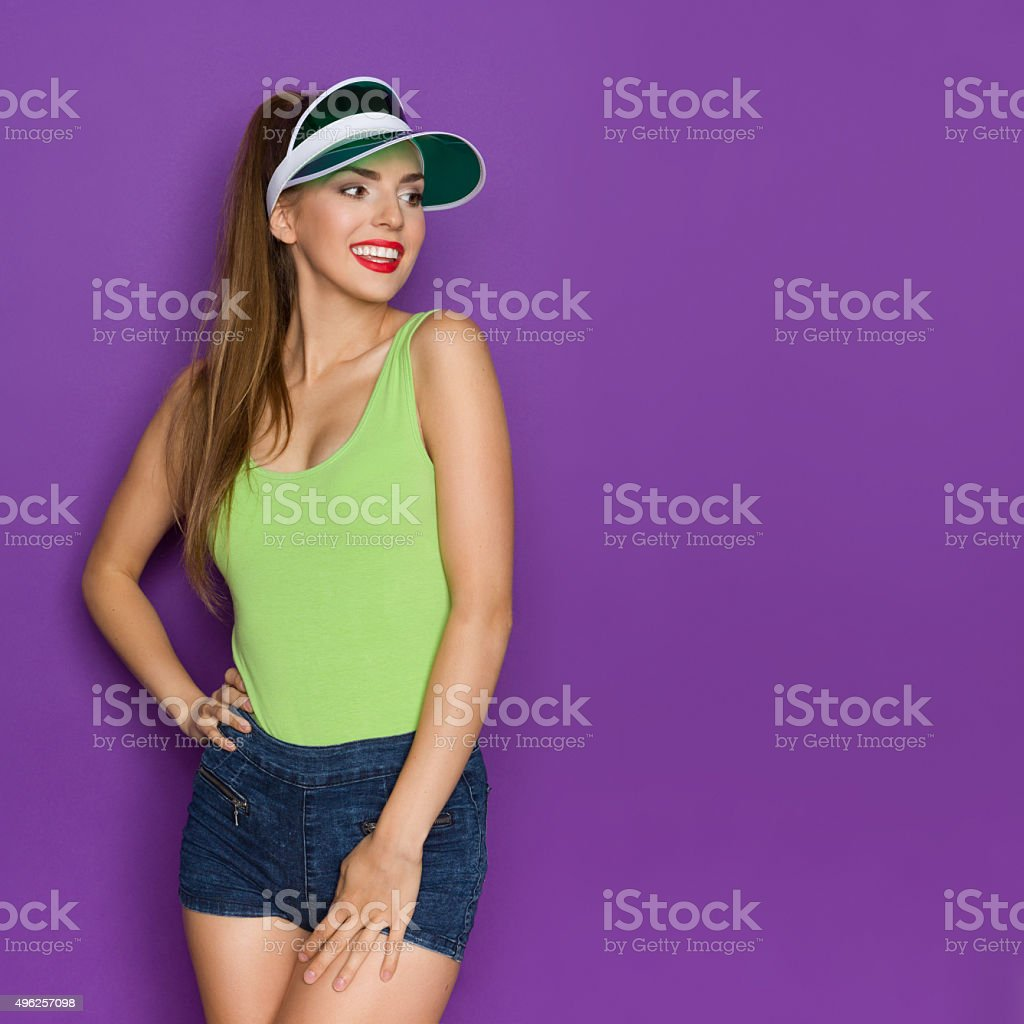 Beautiful Woman Looking At Copy Space stock photo