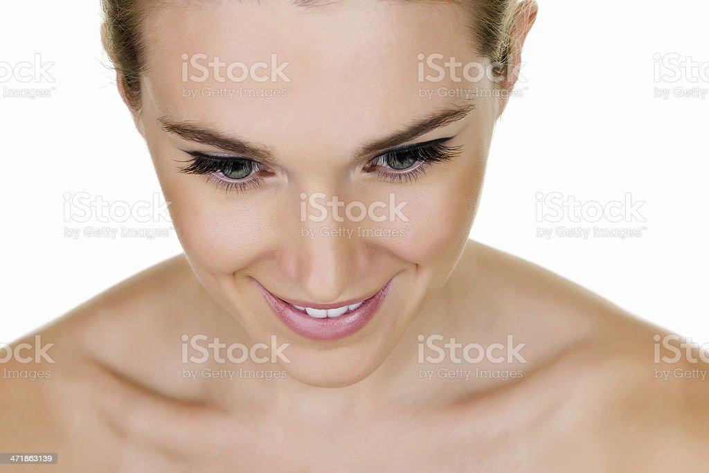 Beautiful woman looking down royalty-free stock photo
