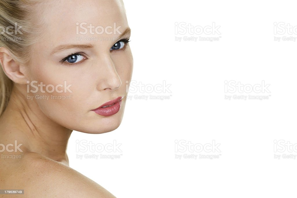 Beautiful woman looking over her shoulder royalty-free stock photo