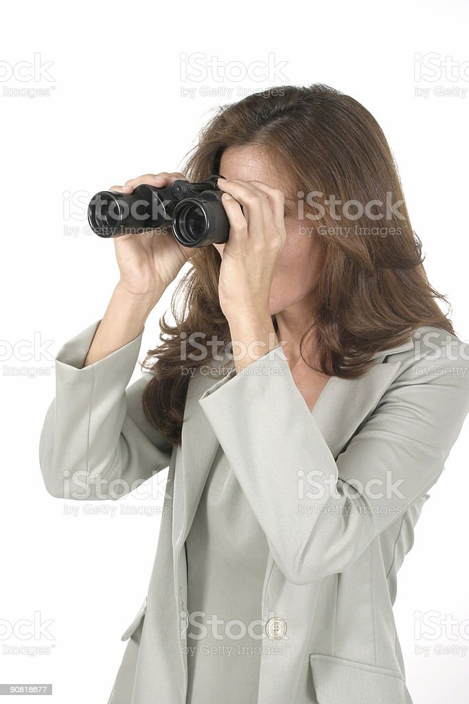 Beautiful Woman Looking Through Binoculars royalty-free stock photo