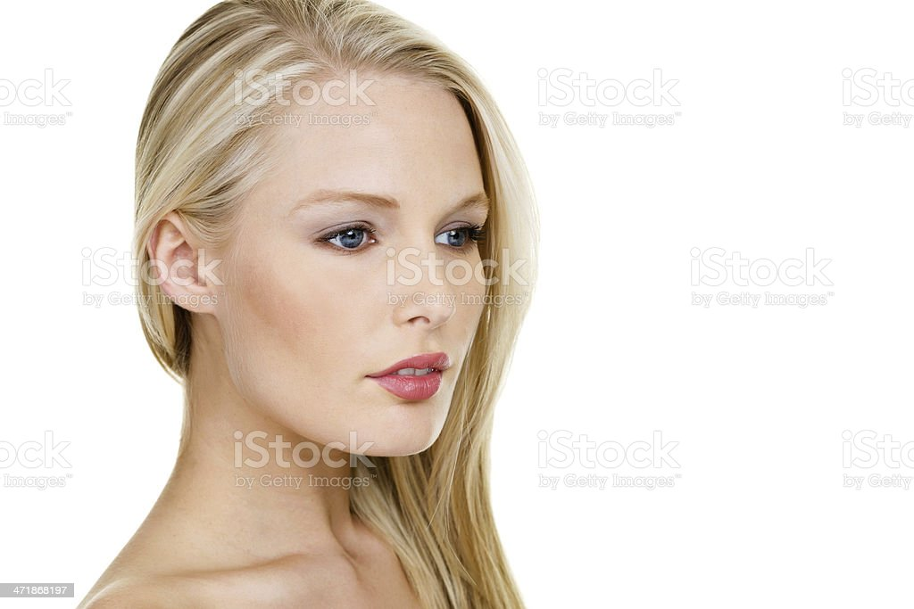 Beautiful woman looking to one side royalty-free stock photo