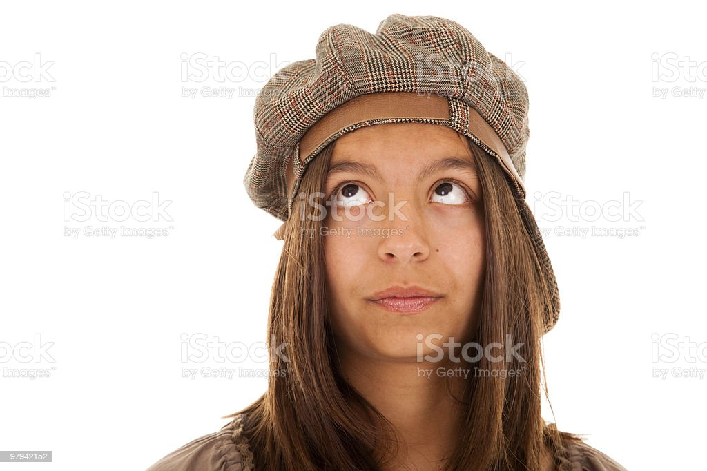 beautiful woman looking to the copyspace royalty-free stock photo